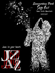 Jazz poster with saxophonist