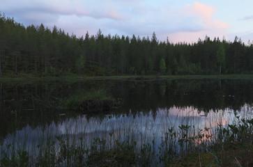 Small pond just before night, Finnmarken, Dalarna, Sweden