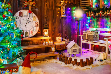 House decorated and lighted for Christmas, New Year Eve