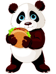 Panda eats hamburger