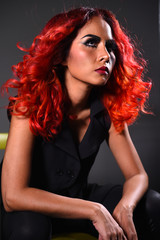 portrait of a beautiful girl with dyed hair coloring