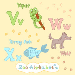 Colorful children's alphabet with animals, viper, wolf, X-ray