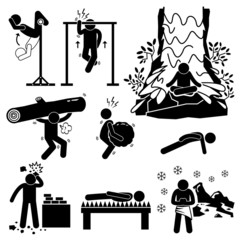 Extreme Physical Mental Training Stick Figure Pictogram Icons