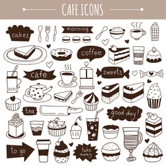 Cute hand drawn cafe icons
