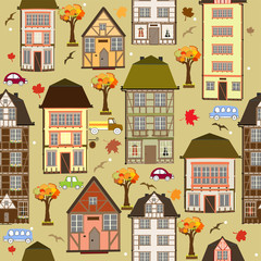 Seamless pattern with autumn city