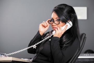 woman glasses phone