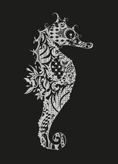 Seepferdchen- weiß auf schwarzem Grund