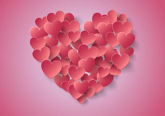 Heart Paper Sticker With Shadow Valentine's day vector illustrat