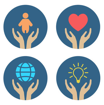 hands supporting child heart globe and lightbulb