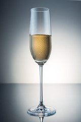 champagne glass with condensation drops
