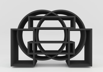 Color black bookshelf circle