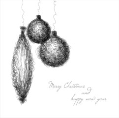 Vector christmas decoration - continuous line drawing