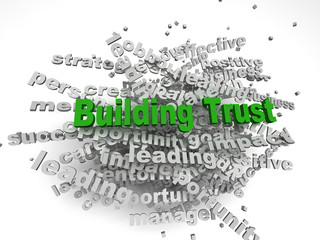 3d imagen Building Trust concept in word tag cloud on white back