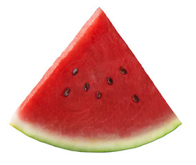 Single fresh watermelon piece isolated on white background