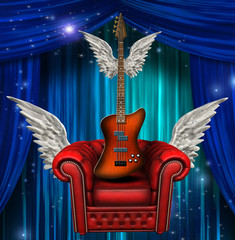 Winged chair and guitar