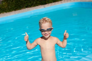happy kid in the pool