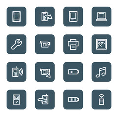 Mobile content web icons, navy square buttons