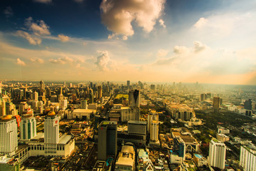 Bangkok cityscape with the business town below, Thailand