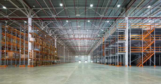 Big automated warehouse, panorama of modern rack system and shelvings