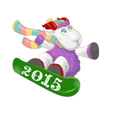 Funny ram riding a snowboard 2015  onisolated white