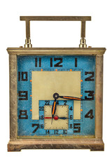 Vintage art deco table clock isolated on white