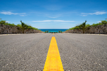 Road with yellow line ending in tropical sea, ocean