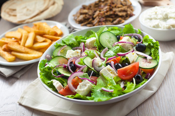 Greek Salad with Gyros and Fries