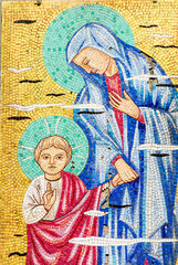 Mosaico Gesù e Vergine Maria, sfondo con trama