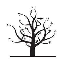 black vector tree and arrows