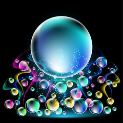Glowing background with smoke and versicoloured bubbles