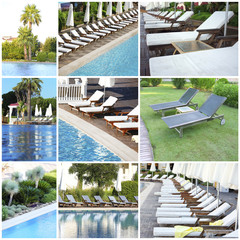 Collage of photos with swimming pool