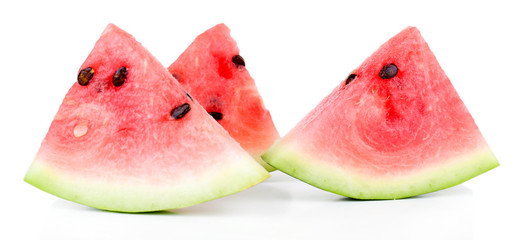 Slices of watermelon isolated on white