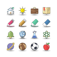 Flat color style School and Education icons set