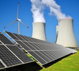Solar energy panels, wind turbine and nuclear power plant