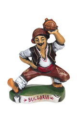 Ceramic figure of traditional Bulgarian man ,isolated