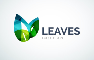 Eco leaves logo design made of color pieces