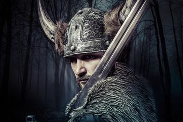 Sword, Viking warrior with helmet over forest background