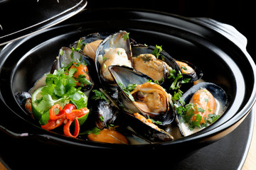 Mussels in coconut milk with lemongrass and fresh cilantro