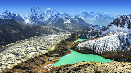 Poster Nepal Beautiful view from Gokyo Ri, Everest region, Nepal