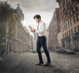 Businessman walking in the city