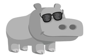 hippo cartoon wearing glasses