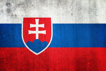 National flag of Slovakia. Grungy effect.