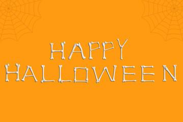 Happy Halloween spelled out in bones.