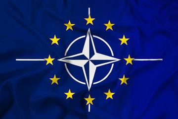 Waving Nato and EU Flag
