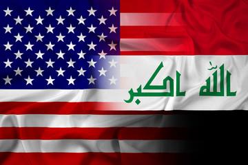 Waving Iraq and USA Flag