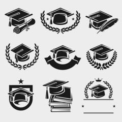 Graduation cap labels set. Vector