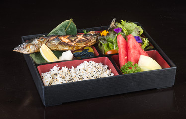 japanese cuisine. lunch box set on the background