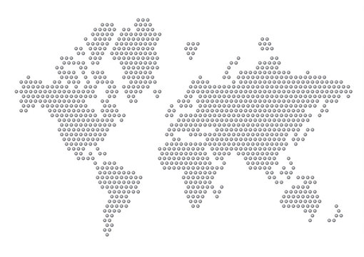 Dotted Map of the World radial blended Mercator