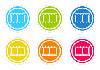 Set of rounded colorful icons with movie symbol