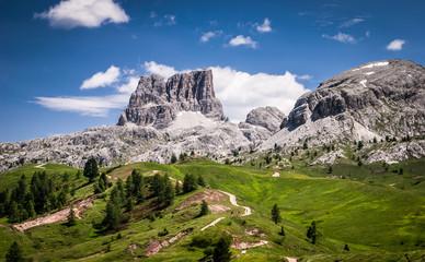 Dolomites mountains at summer.Passo Di Falzarego.